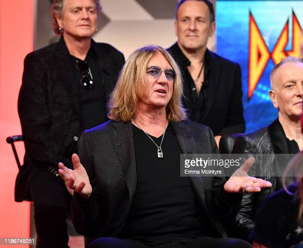 Joe Elliott of Def Leppard speaks during the press conference for THE STADIUM TOUR DEF LEPPARD MOTLEY CRUE POISON at SiriusXM Studios on December 04...