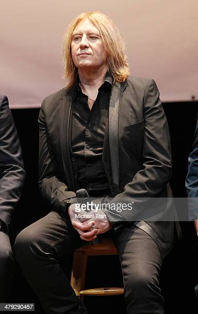 Joe Elliott of Def Leppard speaks onstage during the KISS and Def Leppard announcment of their 2014 Summer tour held at The House of Blues on Sunset...