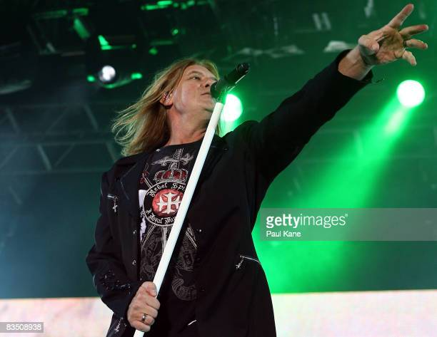 Joe Elliott of the band Def Leppard performs on stage at Members Equity Stadium on October 31 2008 in Perth Australia