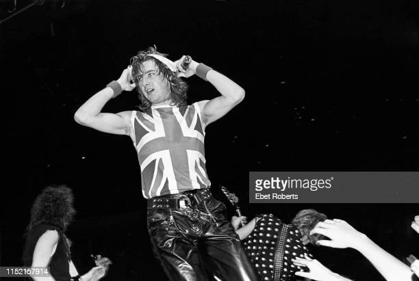 Joe Elliott performing with Def Leppard at the Brendan Byrne Arena in East Rutherford, New Jersey on March 27, 1983.