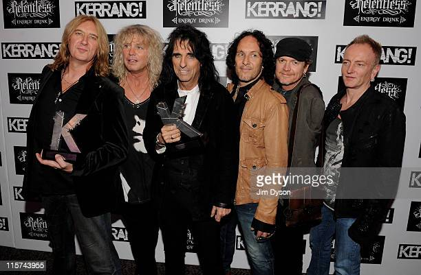 Joe Elliott Rick Savage Vivian Campbell Rick Allen and Phil Collen of Def Leppard with the Kerrang Inspiration Award pose with the Kerrang Icon Award...