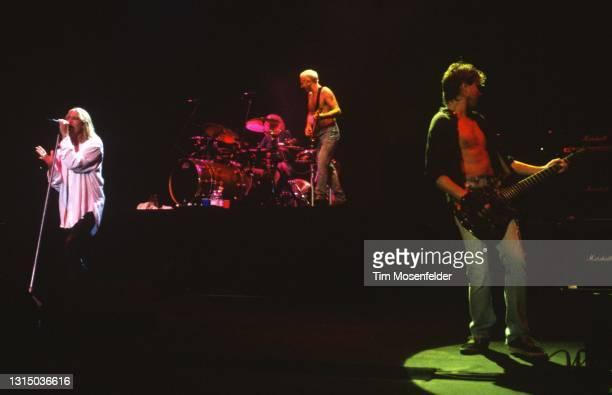 Joe Elloitt, Rick Allen, Phil Collen, and Vivian Campbell of Def Leppard performs at Shoreline Amphitheatre on August 31, 1996 in Mountain View,...