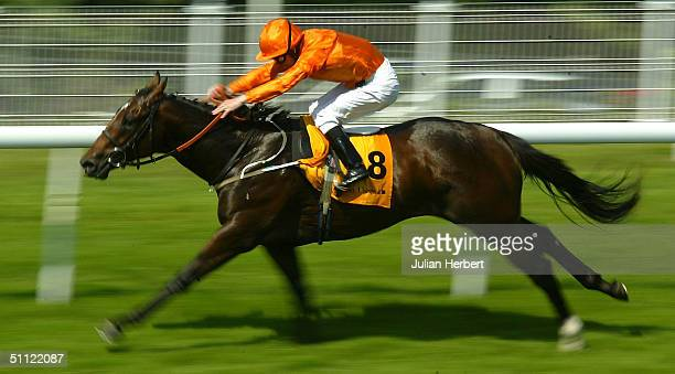 Joe Fanning and Shamardal land an easy victory in The Veuve Clicquot Vintage Stakes Race run at Goodwood Racecourse on July 28 2004 in Goodwood...