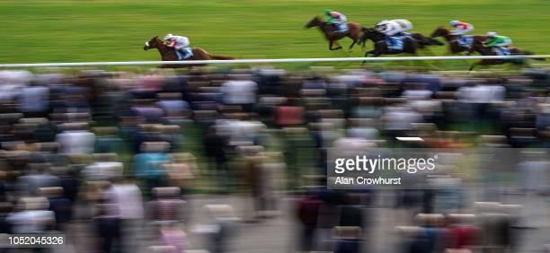 Joe Fanning riding Caballero win The Mydubai Nursery Handicap Stakes at Newmarket Racecourse on October 13 2018 in Newmarket United Kingdom