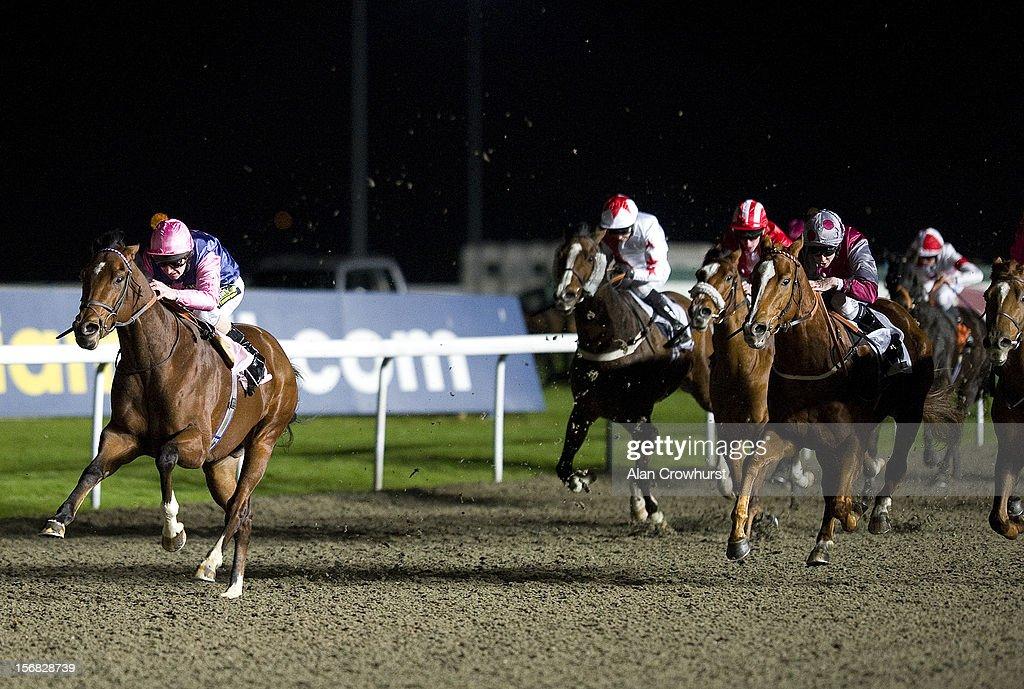 Joe Fanning riding Embankment win The 32Red Casino Handicap Stakes at Kempton racecourse on November 22, 2012 in Sunbury, England.