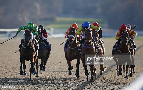 Joe Fanning riding Juste Pour Nous L0 win The Betway Classified Selling Stakes at Lingfield Park on December14 2016 in Lingfield England