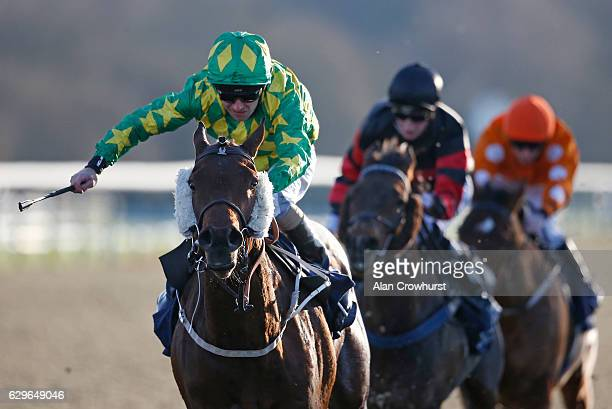 Joe Fanning riding Juste Pour Nous win The Betway Classified Selling Stakes at Lingfield Park on December14 2016 in Lingfield England