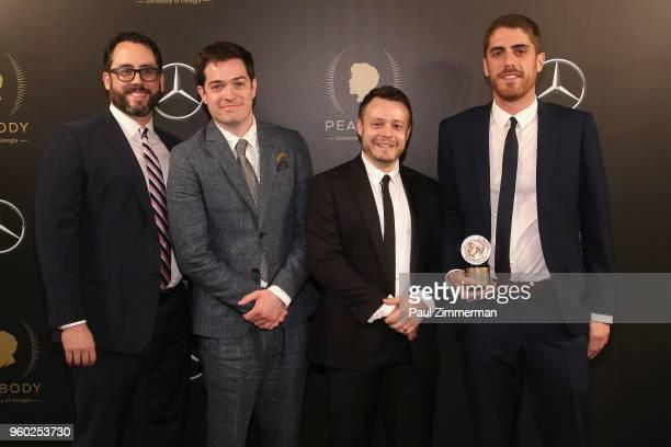 Joe Farrell Ari Lubet Daniel Perrault and Tony Yacenda of American Vandal pose with Peabody Award at The 77th Annual Peabody Awards Ceremony at...