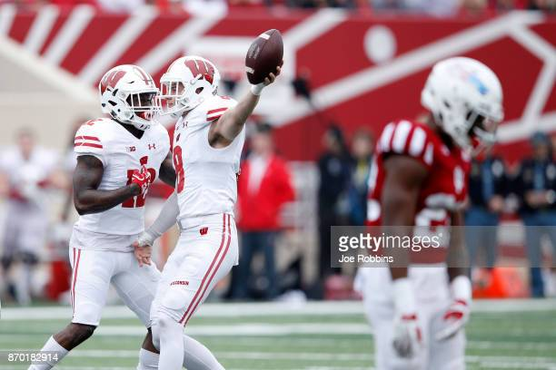 Joe Ferguson of the Wisconsin Badgers celebrates after an interception in the fourth quarter of a game against the Indiana Hoosiers at Memorial...