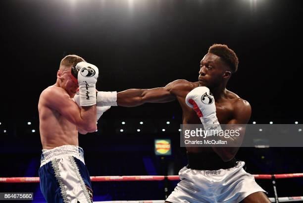 Joe Fitzpatrick of Northern Ireland and Mwenya Chisanga of England during their Lightweight contest on the Burnett versus Zhakiyanov boxing bill at...