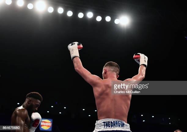 Joe Fitzpatrick of Northern Ireland is declared the winner over Mwenya Chisanga of England during their Lightweight contest on the Burnett versus...