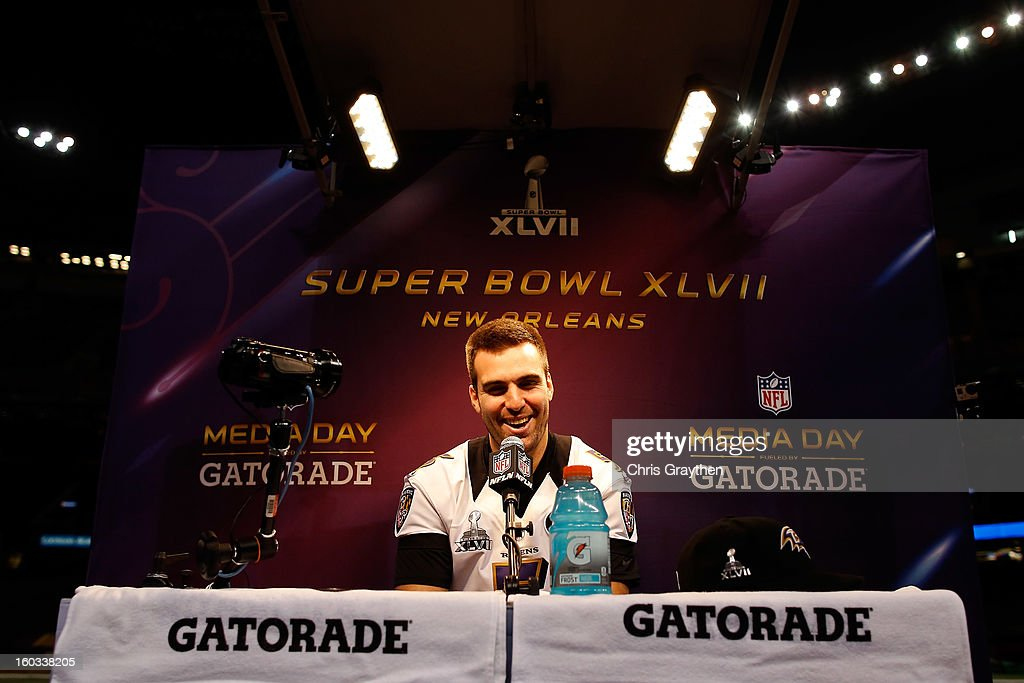 Joe Flacco #5 of the Baltimore Ravens answers questions from the media during Super Bowl XLVII Media Day ahead of Super Bowl XLVII at the Mercedes-Benz Superdome on January 29, 2013 in New Orleans, Louisiana. The San Francisco 49ers will take on the Baltimore Ravens on February 3, 2013 at the Mercedes-Benz Superdome.