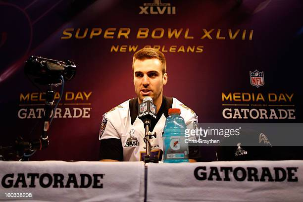 Joe Flacco of the Baltimore Ravens answers questions from the media during Super Bowl XLVII Media Day ahead of Super Bowl XLVII at the MercedesBenz...