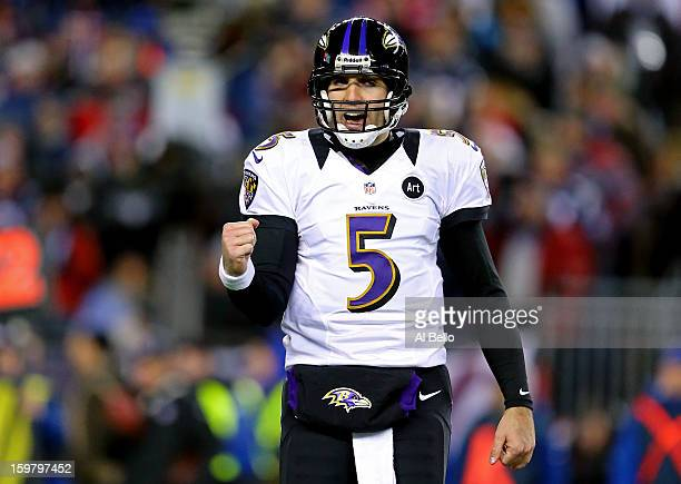 Joe Flacco of the Baltimore Ravens celebrates after a touchdown ran by Ray Rice in the second quarter against the New England Patriots during the...