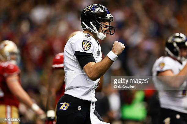 Joe Flacco of the Baltimore Ravens celebrates after throwing a touchdown pass in the first quarter against the San Francisco 49ers during Super Bowl...