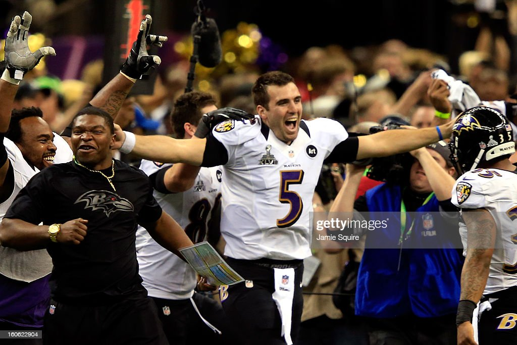 Joe Flacco #5 of the Baltimore Ravens celebreates with his teammates after defeating the San Francisco 49ers during Super Bowl XLVII at the Mercedes-Benz Superdome on February 3, 2013 in New Orleans, Louisiana. The Ravens defeated the 49ers 34-31.
