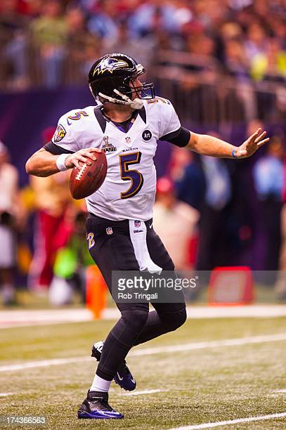 Joe Flacco of the Baltimore Ravens drops back to pass during Super Bowl XLVII against the San Francisco 49ers on February 3 2013 in New Orleans...