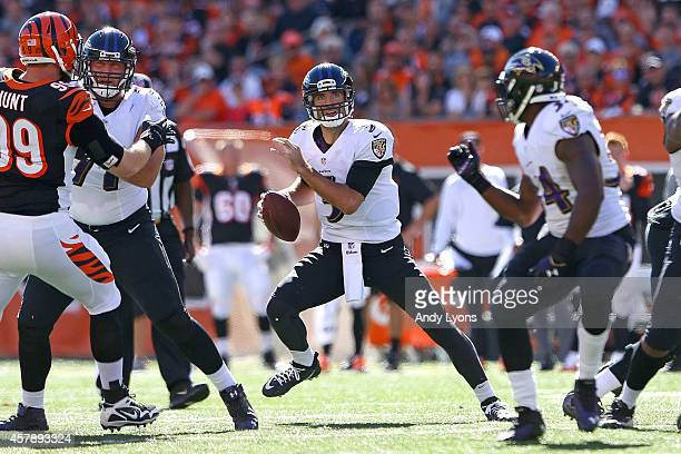 Joe Flacco of the Baltimore Ravens drops back to throw a pass during the first quarter of the game against the Cincinnati Bengals at Paul Brown...