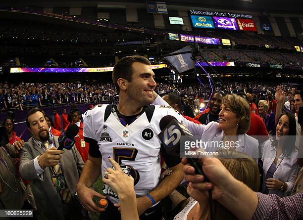 Joe Flacco of the Baltimore Ravens reacts after defeating the San Francisco 49ers during Super Bowl XLVII at the MercedesBenz Superdome on February 3...
