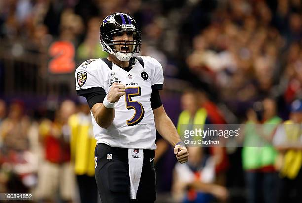 Joe Flacco of the Baltimore Ravens reacts against the San Francisco 49ers during Super Bowl XLVII at the MercedesBenz Superdome on February 3 2013 in...