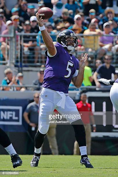 Joe Flacco of the Baltimore Ravens throws the ball against the Jacksonville Jaguars during an NFL game on September 25 2016 at EverBank Field in...