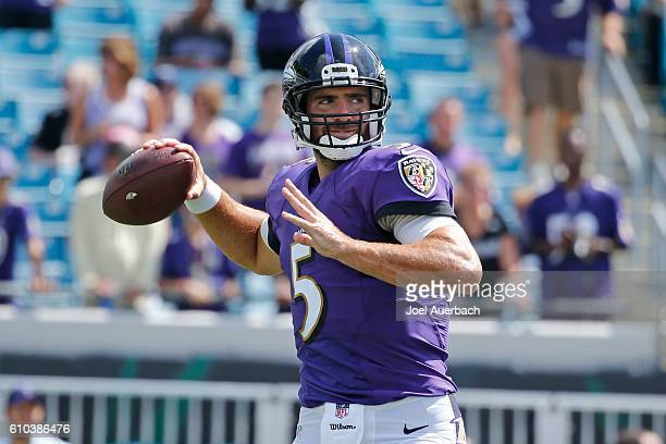 Joe Flacco of the Baltimore Ravens throws the ball prior to an NFL game against the Jacksonville Jaguars on September 25 2016 at EverBank Field in...