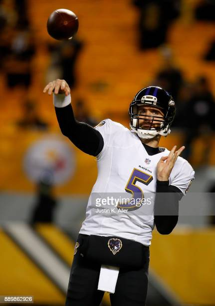Joe Flacco of the Baltimore Ravens warms up before the game against the Pittsburgh Steelers at Heinz Field on December 10 2017 in Pittsburgh...