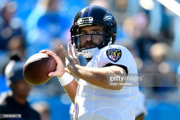 Joe Flacco of the Baltimore Ravens warms up prior to their game against the Carolina Panthers at Bank of America Stadium on October 28 2018 in...