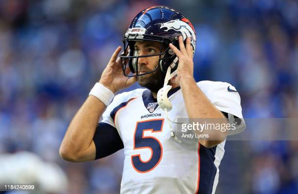 Joe Flacco of the Denver Broncos against the Indianapolis Colts at Lucas Oil Stadium on October 27 2019 in Indianapolis Indiana