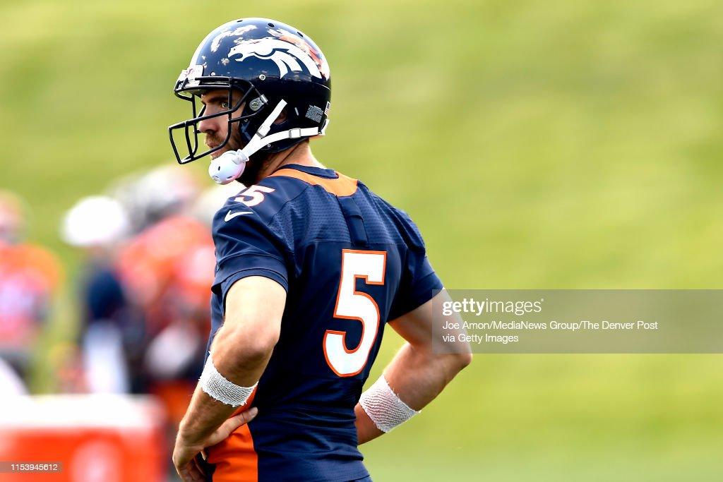 Joe Flacco of the Denver Broncos during mini camp at UCHealth