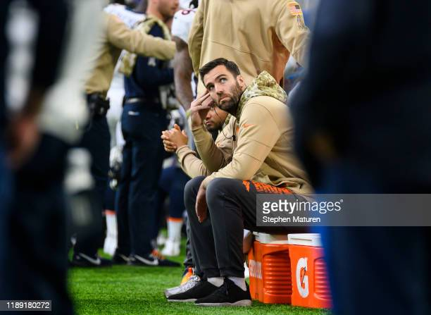 Joe Flacco of the Denver Broncos on the sideline in the first quarter of the game against the Minnesota Vikings at US Bank Stadium on November 17...