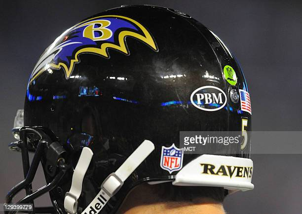 Joe Flacco's helmet and those of his teammates bear the initials of Patricia Breslin Modell the wife of former Ravens and Browns owner Art Modell who...