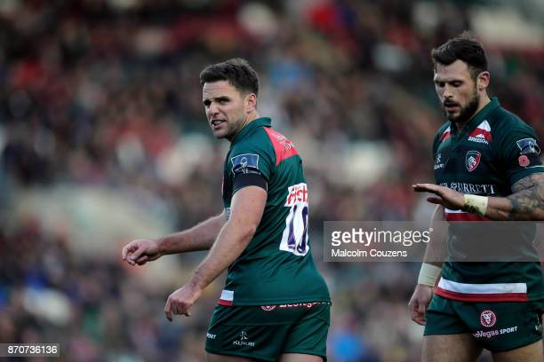 Joe Ford and Adam Thompstone of Leicester Tigers during the AngloWelsh Cup tie between Leicester Tigers and Gloucester Rugby at Welford Road on...