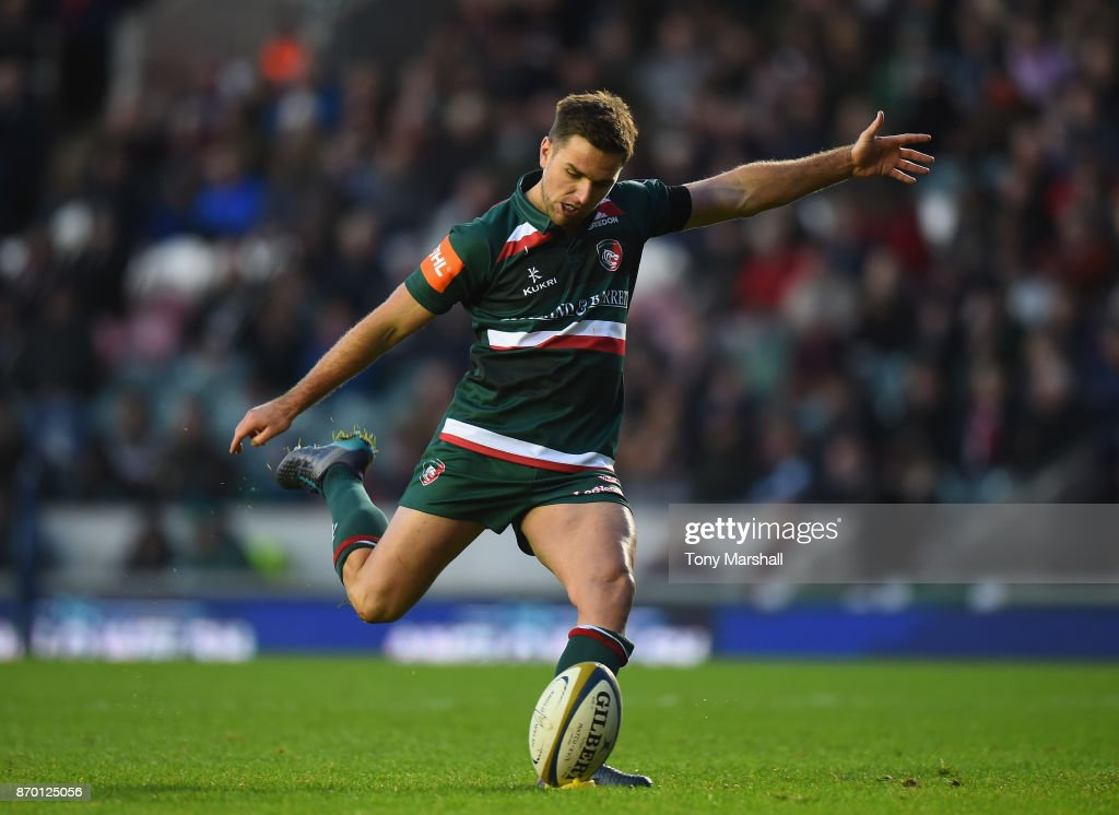 Joe Ford of Leicester Tigers takes a conversion kick during the Anglo-Welsh Cup match at Welford Road on November 4, 2017 in Leicester, England.