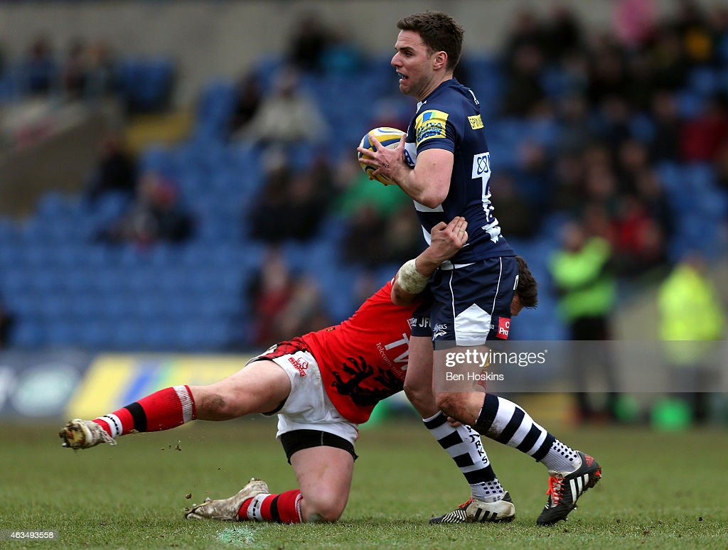 Joe Ford of Sale is tackled by Jamie Lewis of London Welsh during the Aviva Premiership match between London Welsh and Sale Sharks at Kassam Stadium on February 15, 2015 in Oxford, England.