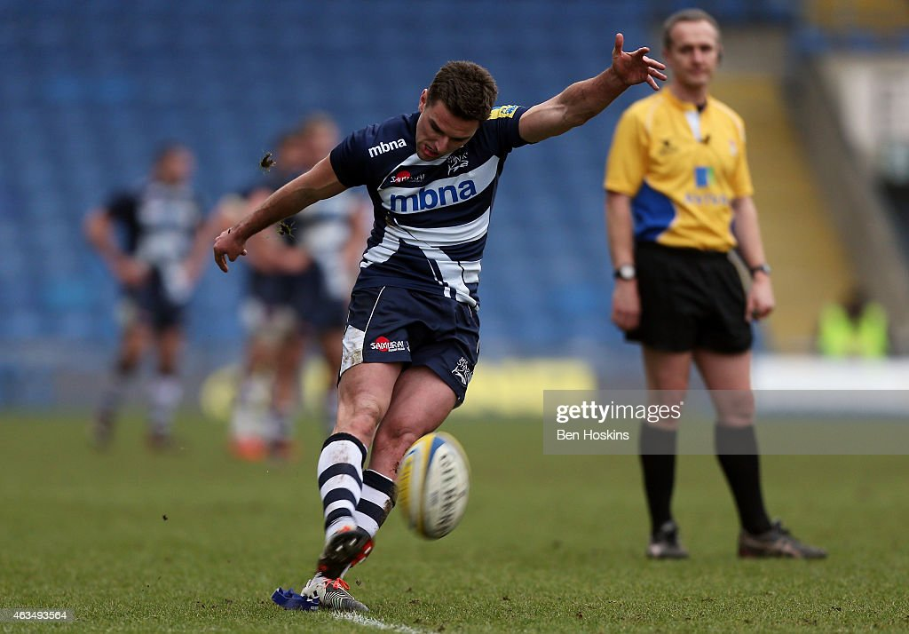 Joe Ford of Sale kicks a penalty during the Aviva Premiership match between London Welsh and Sale Sharks at Kassam Stadium on February 15, 2015 in Oxford, England.