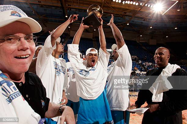 Joe Forte of the Asheville Altitude celebrates the win against the Columbus Riverdragons during the Championship Game on April 23 2005 at the...
