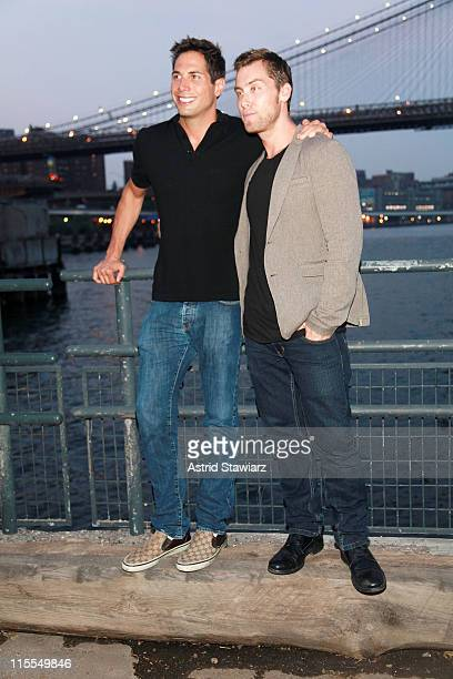 Joe Francis and Lance Bass attend the Beekman Beer Garden Beach Club grand opening party on June 7, 2011 in New York City.