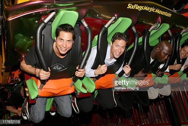 Joe Francis and Mark Shapiro during Six Flags Magic Mountain's Birthday Bash for Joe Francis VIP Riders at Six Flags Magic Mountain in Valencia...
