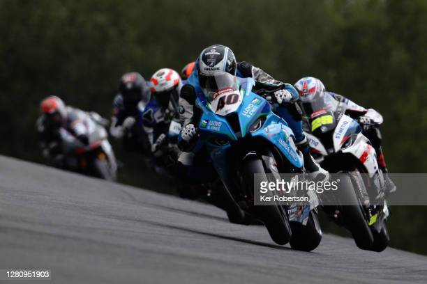 Joe Francis of BMW Motorrad rides during the penultimate round of the Bennetts British Superbike Championship at Brands Hatch on October 18, 2020 in...