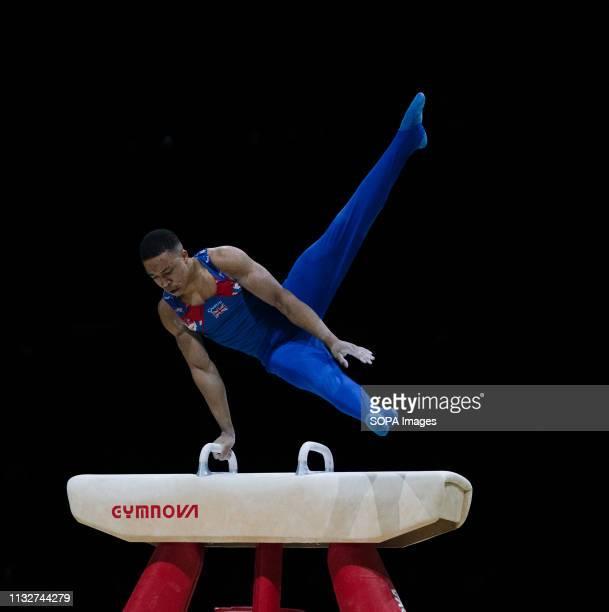 Joe Fraser in action during Gymnastics World Cup 2019 at Genting Arena Birmingham