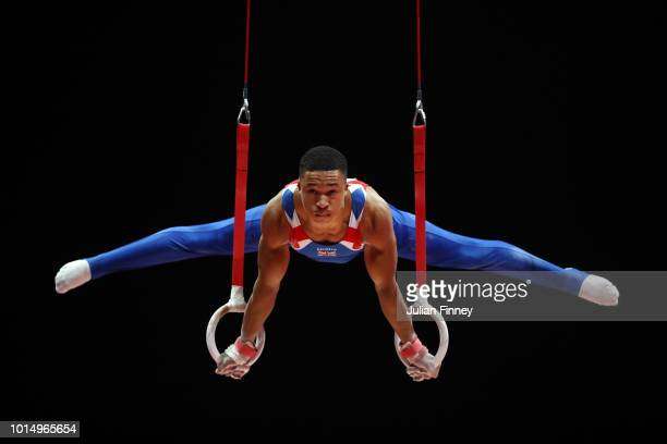Joe Fraser of Great Britain competes in Rings in the Men's Gymnastics Final on Day Ten of the European Championships Glasgow 2018 at The SSE Hydro on...