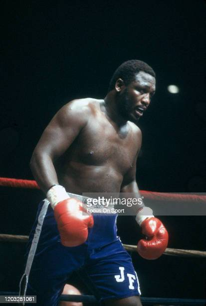 Joe Frazier and Floyd Cummings fight in a heavyweight match on December 3 1981 at the International Amphi Theatre in Chicago Illinois The 10 round...
