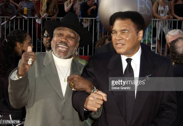 Joe Frazier and Muhammad Ali during 2002 ESPY Awards Arrivals at The Kodak Theater in Hollywood California United States