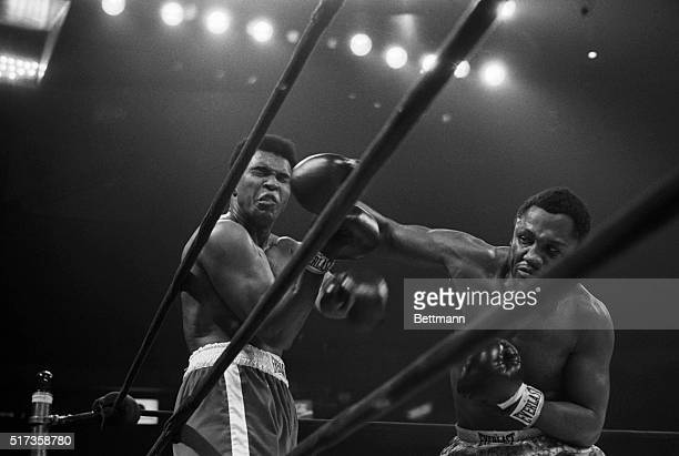 Joe Frazier connects solidly with a long right to the face of Muhammad Ali during their heavyweight title bout. Frazier later wins by a unanimous...