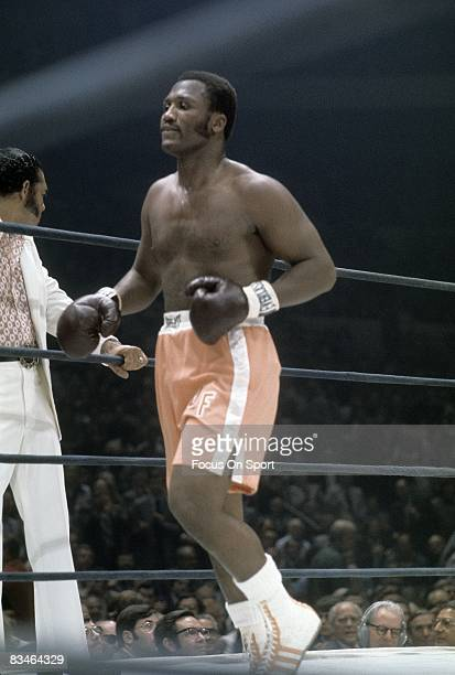 Joe Frazier jogs around the ring before a heavyweight fight against Jerry Quarry on June 17 1974 at Madison Square Garden in New York New York...