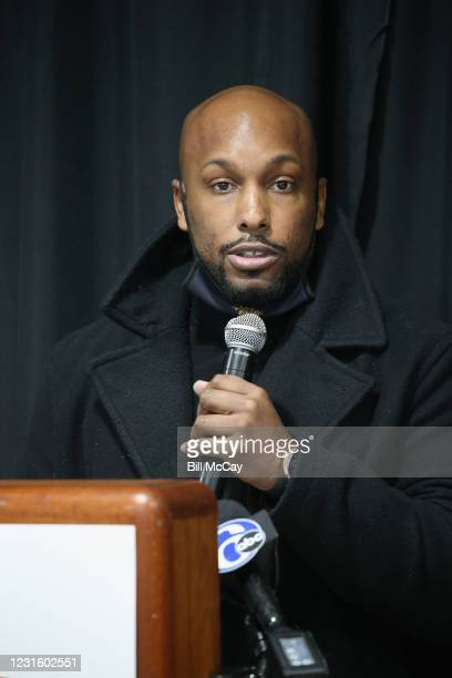 """Joe Frazier Jr attends the 50th Anniversary Ali-Frazier """"Fight of the Century"""" Statue Dedication on March 8, 2021 at Joe Hand Gym in Feasterville,..."""