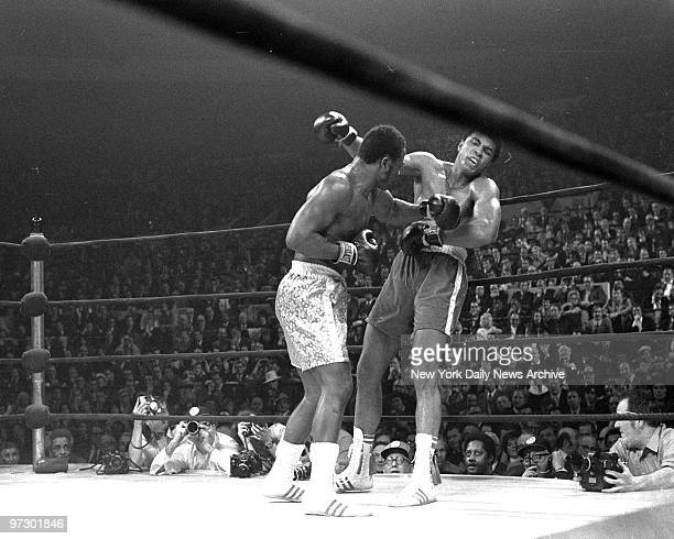 Joe Frazier knocking out Muhammad Ali in the 15th round at Madison Square Garden