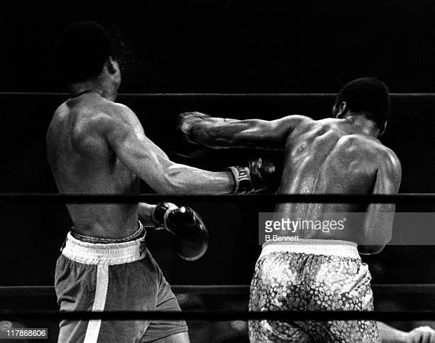 Joe Frazier lands a punch on Muhammad Ali during their heavyweigh fight in Madison Square Garden on March 8 1971 in New York City Frazier defeated...