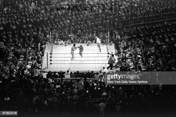 Joe Frazier takes on Muhammad Ali during heavyweight bout at Madison Square Garden